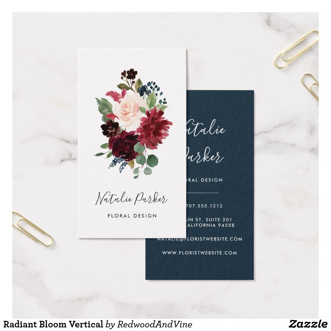 Radiant Bloom Vertical Business Card | Vertical business cards and ...