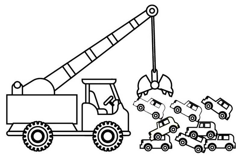 crane truck towing and carrying cars coloring sheet for