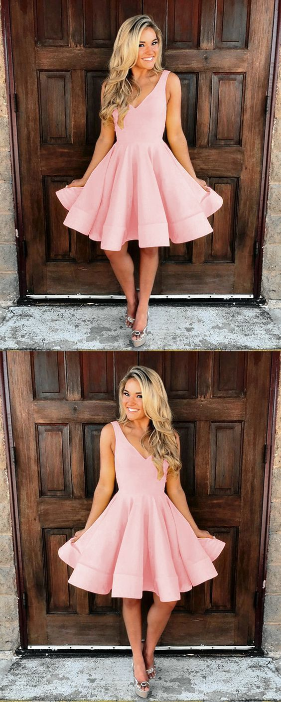 Cute baby pink homecoming dress, v neck satin prom short dress 0045 #modestprom
