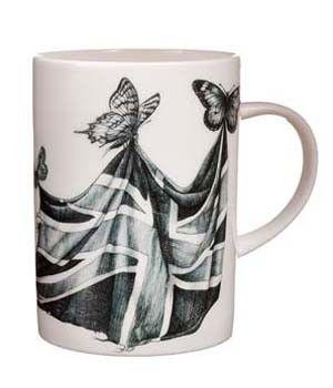 Intricate mug, bootful butterflies