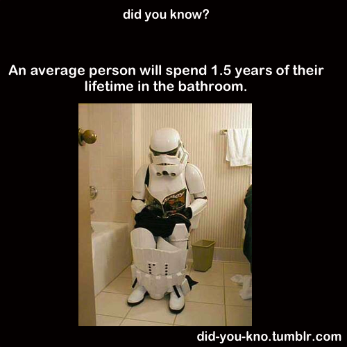 An average person will spend 1.5 years of their lifetime in the bathroom.