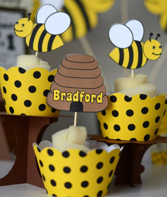 Bumble BEE Baby Shower Bee Decoratons CUPCAKE TOPPERS Honey Party Decorations