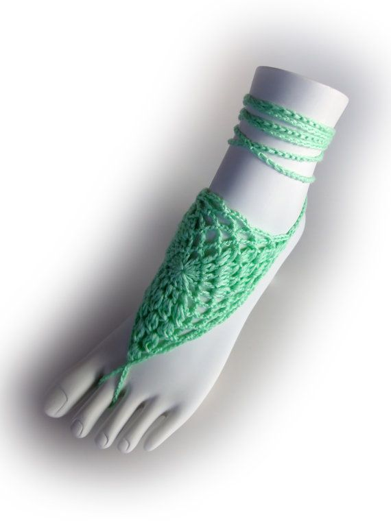 Mint Lace Barefoot Sandals or 23 different colors. by VividBear