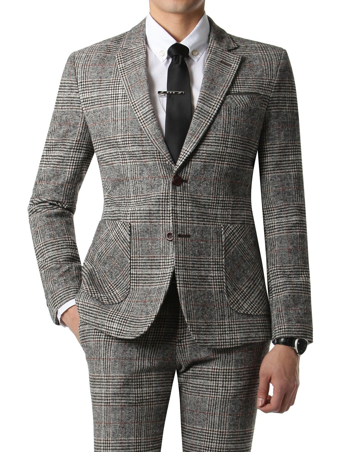 Doublju Men's 2 Button Woolen Suit Blazer Jacket Gray Plaid (KMOBL031)  #doublju