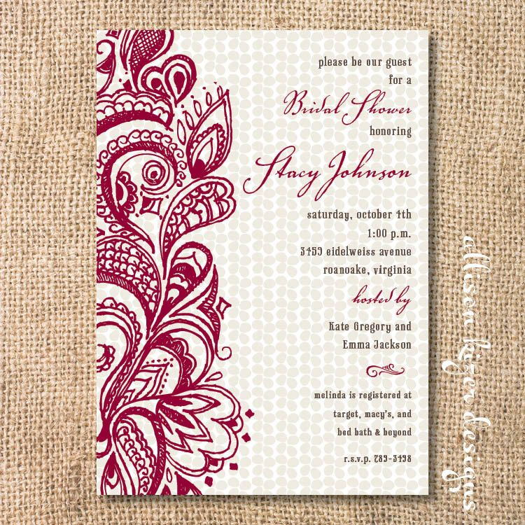 Boho Merlot Burgundy Bridal Shower Invitation Garnet Paisley - bridal shower invitation samples
