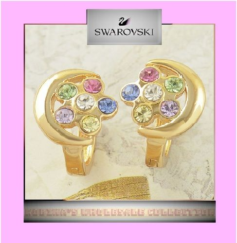 USA SELLER So Darn CUTE! Even New Fashion Girls Woman\'s Ladies ( Young Ladies ) 2.2 gram Of 14k Yellow Gold Filled With Pastel Swarovski Crystals Flower w/ Gold Moon Lock in Place Lever Back Leverback Earrings Women\'s Girls or ( little girls) Jewelry Reta. Starting at $1