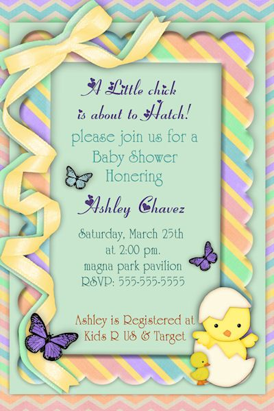 Customized Printable Easter Baby Shower Invitation