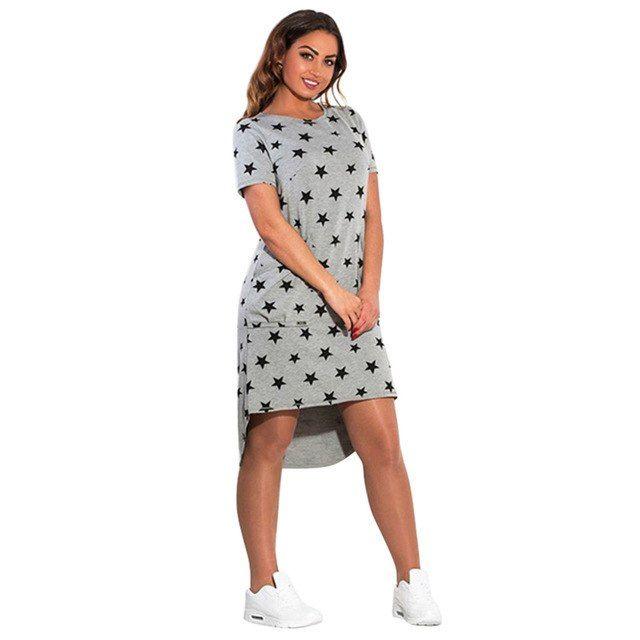 5XL 6XL Large Size New Women s Dress Casual Summer Plus Size Five Stars  Irregular O Neck Short Sleeve Dress Big Size Vestidos  02823a76b89a