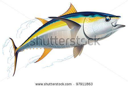 Silhouette of tuna | Yellowfin tuna in fast motion. Realistic vector ...