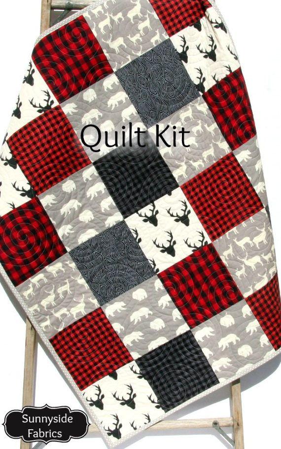Quilt Kit Buffalo Plaid Rustic Woodland Bedding Crib Blanket Buffalo Plaid Quilt Baby Quilt Kit Plaid Quilt