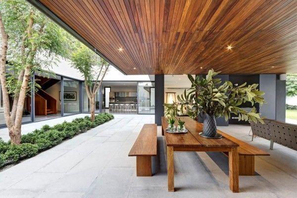 Dark Wood Ceiling Panels Interior Design Ideas La Houses Architecture Stone Houses