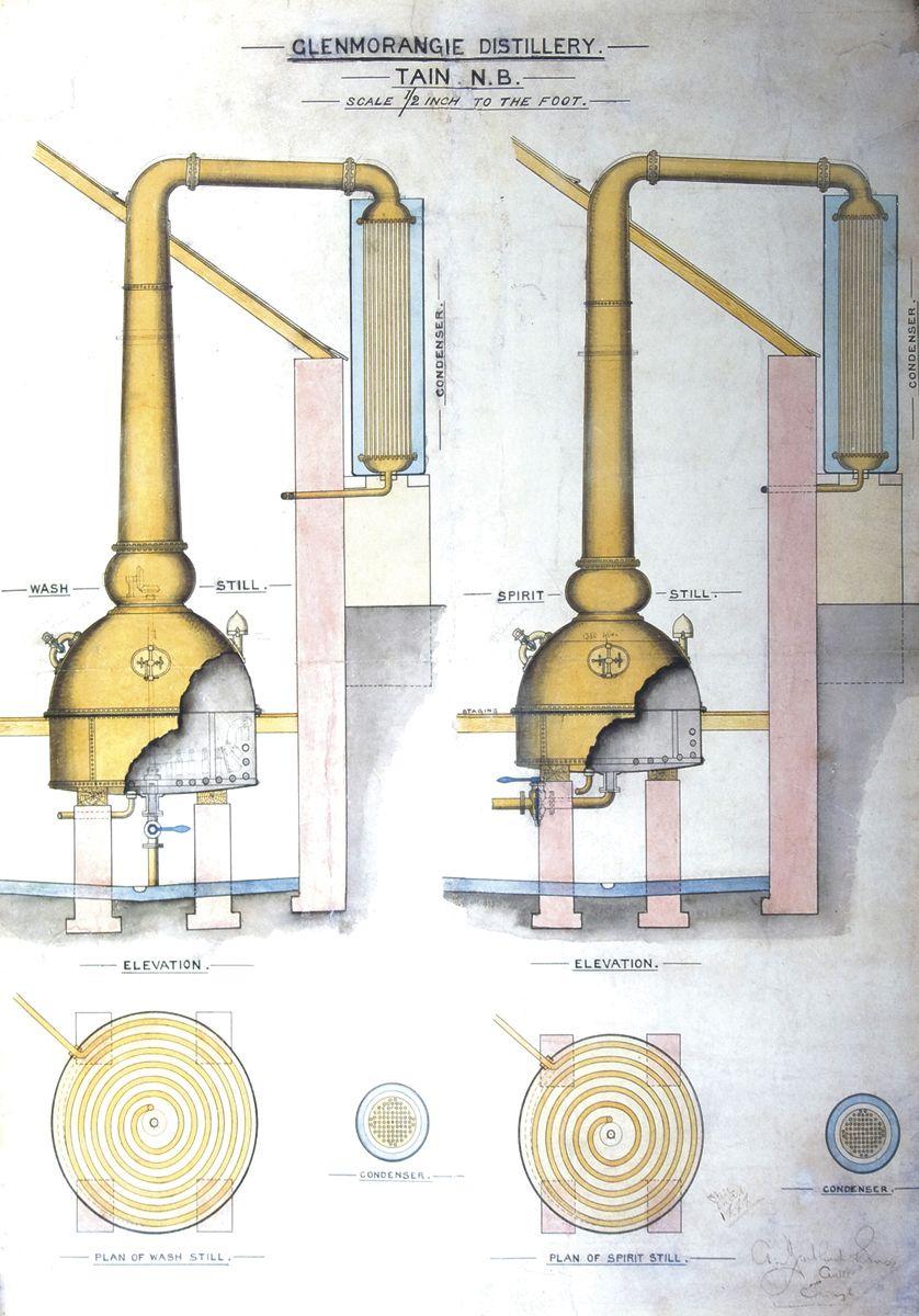 Technical drawing of the Glenmorangie stills Whiskey