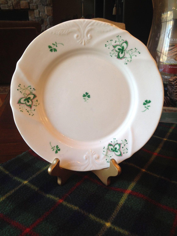 Vintage Irish Dinner Plate Shamrock Plate Irish hand painted Green Clover Dish Irish Bone China Irish Dinnerware St. Patricku0027s Day & Luck of the Irish Vintage Shamrock Plate Hand painted Green Clover ...