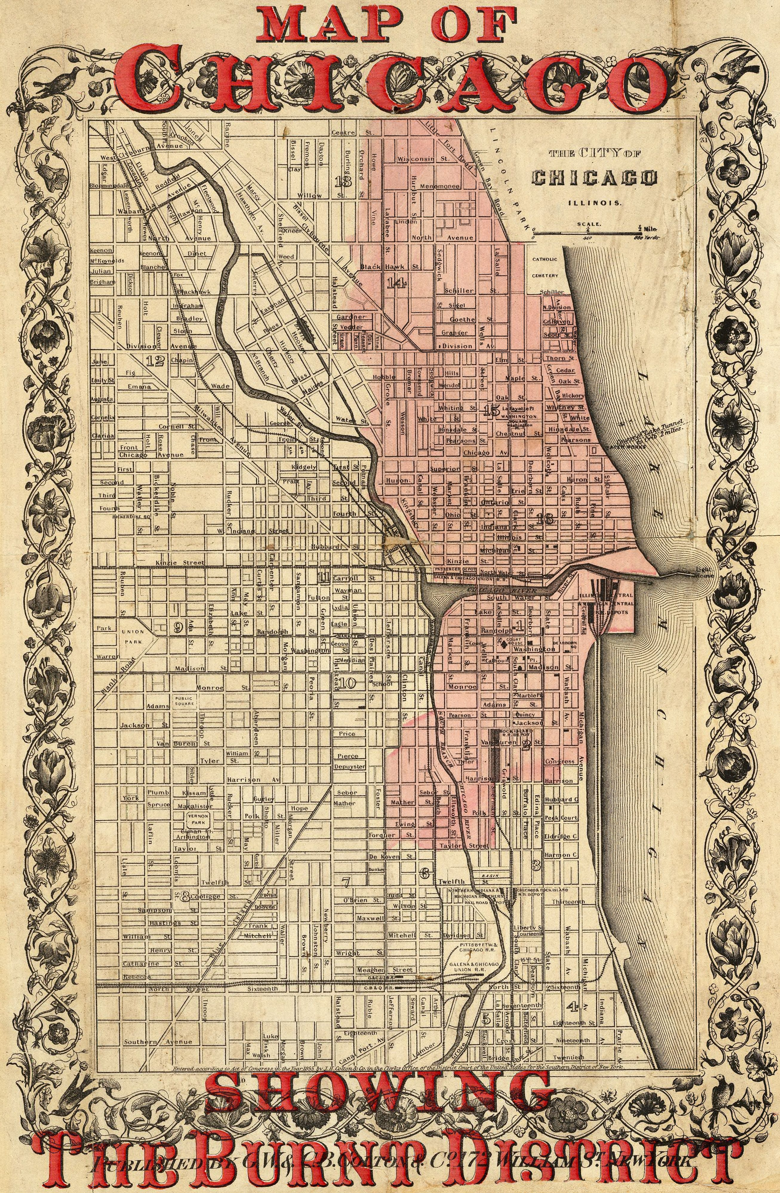 Great Chicago Fire, 1871 | History | Chicago map, Chicago Fire ...
