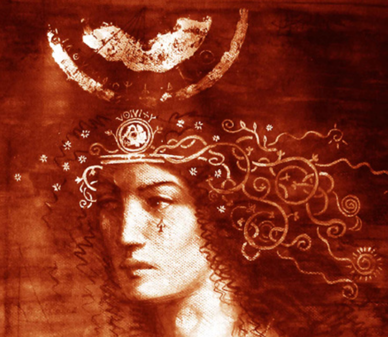 Detail from the Priestess by Jake Baddeley, 2002. Pencil and goldleaf on paper.  Klimt elements in hair