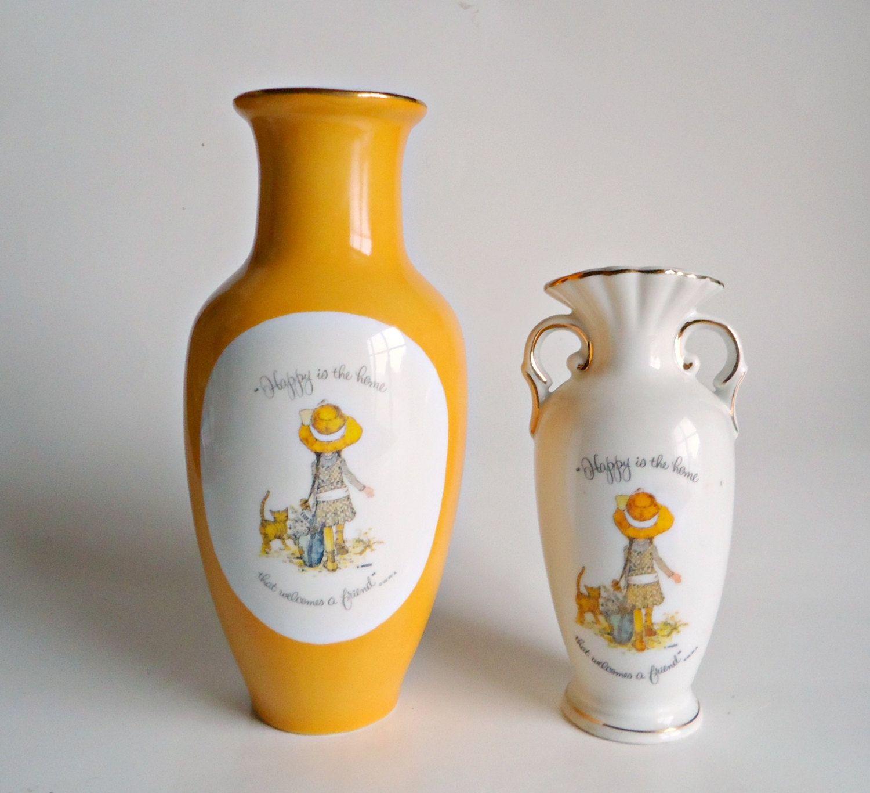 2 vintage holly hobbie vases vase happy is the home that welcomes 2 vintage holly hobbie vases vase happy is the home that welcomes a friend by treasurecoveally reviewsmspy