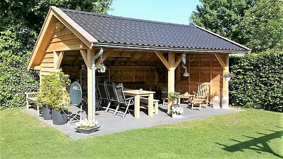 Hedendaags Douglas tuinhuis, kapschuur model.   Ideeën voor in de tuin QK-25