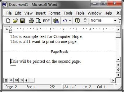 What Is A Page Break Words Computer Dictionary Page