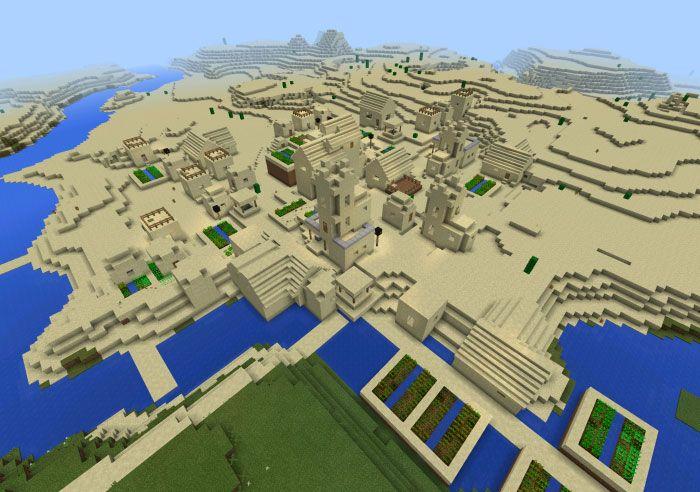 Minecraft PE seed 1405190109 Triple Sand Village http