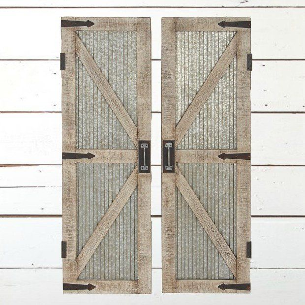 Corrugated Metal and Wood Barn Door Wall Panel, Set of 2 | ~~Laundry ...