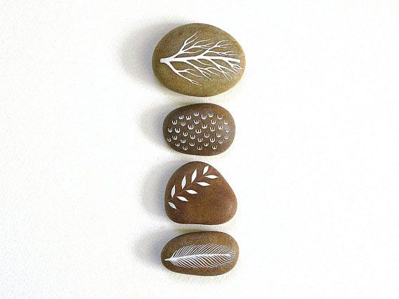 Air et terre 11 - Collection de 4 pierres peintes - Art minimaliste de la Nature, maison moderne, vous inquiétez pas de pierres, méditation - Natasha Newton
