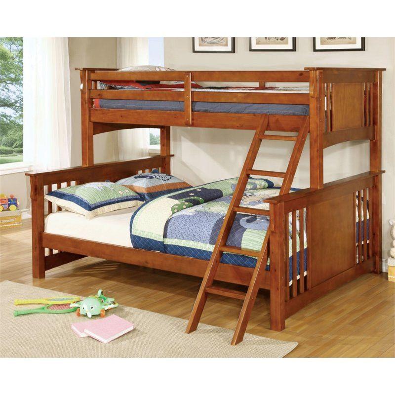 Twin Xl Over Queen Oak Bunk Bed