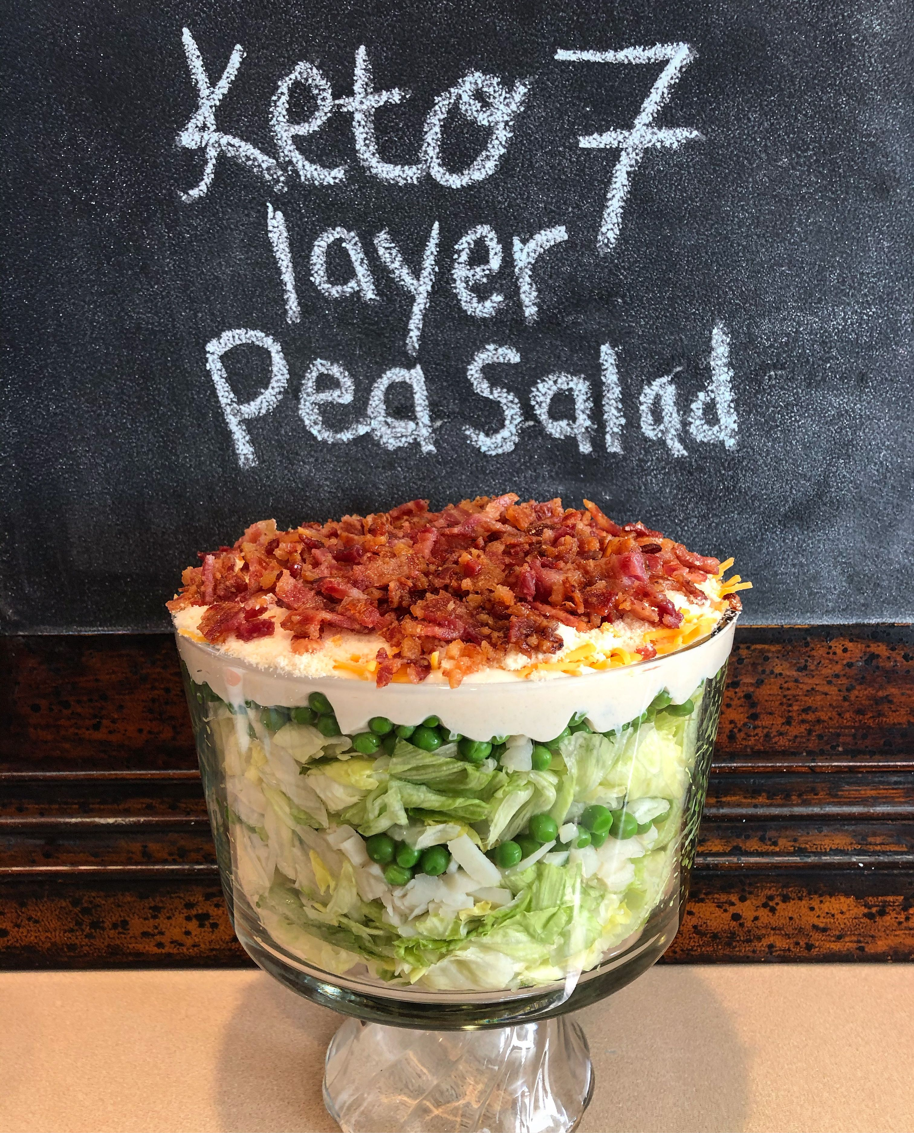 Keto 7 Layer Pea Salad Layered Salad With Peas Pea Salad Layered Salad