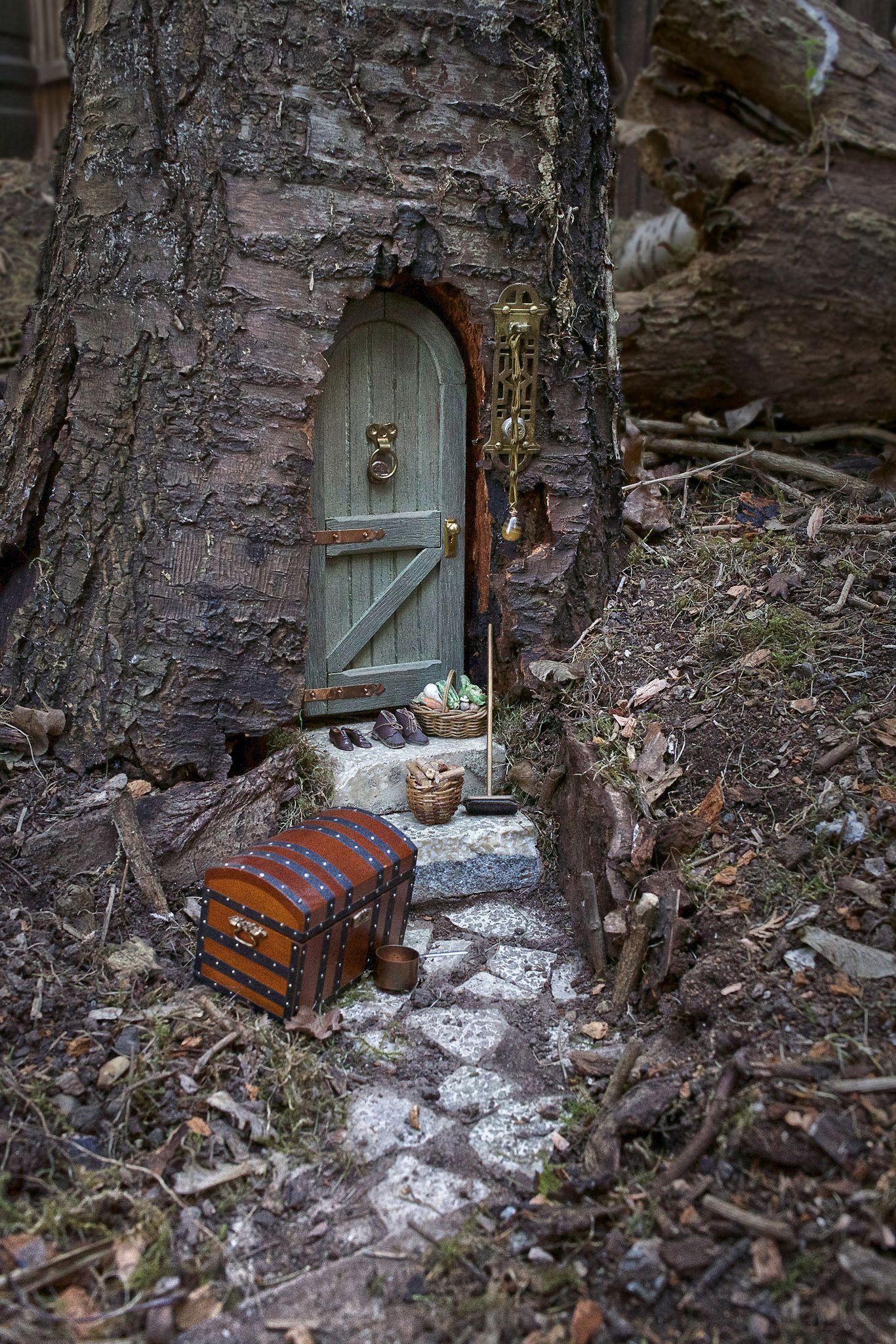 Fairy door in tree trunk