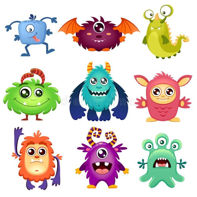 Cute Cartoon Monsters Vector Illustration Isolated On White Background Sponsored Monsters Vector Cartoon Monsters Cute Monsters Drawings Vector Monster