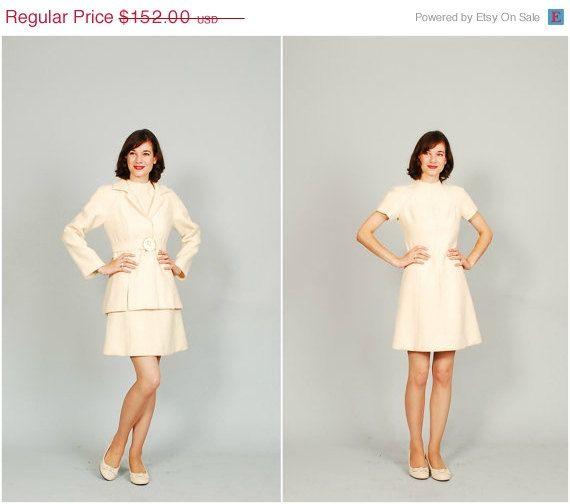 on sale - Vintage 1960s Dress - 60s MOD Dress - Winter White on Etsy, $114.00