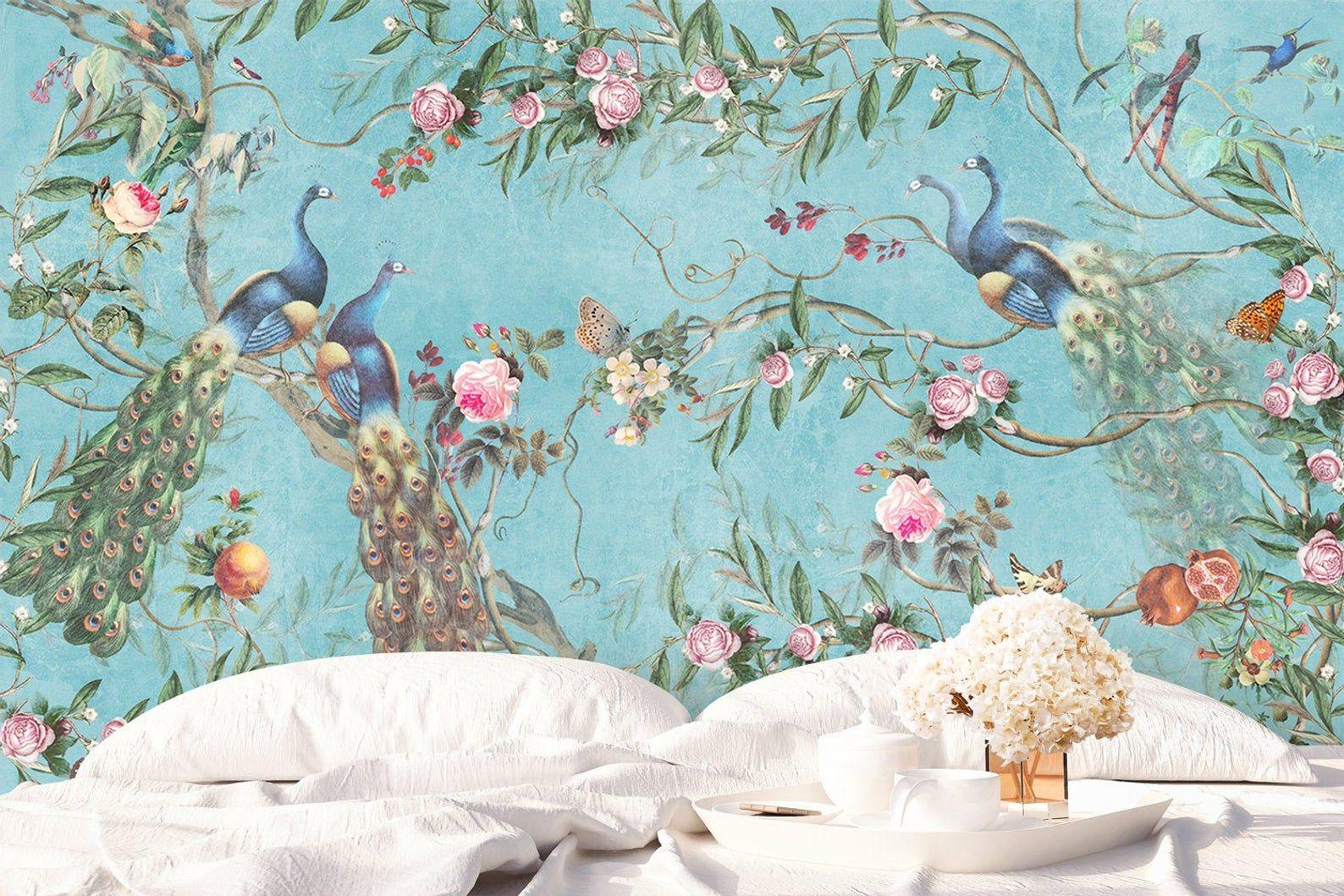 Floral Wallpaper Self Adhesive Peel And Stick Peacock Wall Etsy In 2021 Peacock Wallpaper Floral Wallpaper Mural
