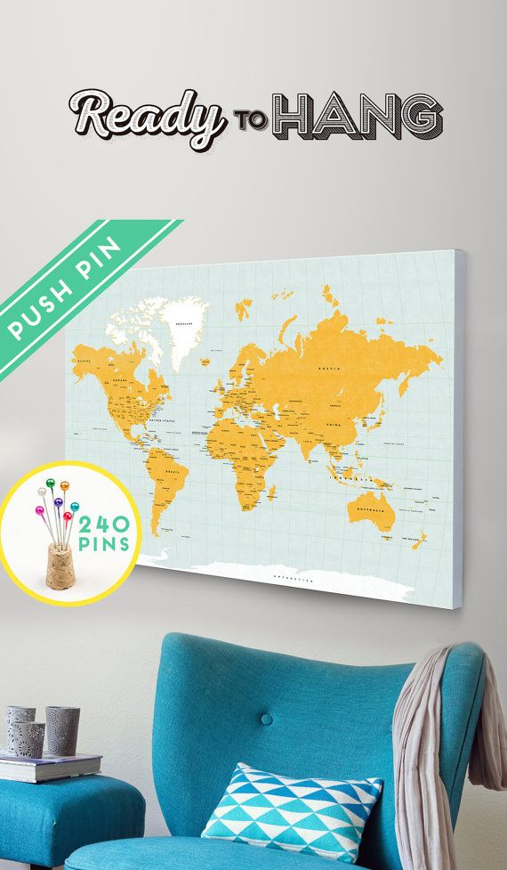 World map canvas with pins orange and blue colors countries world map canvas with pins choose color countries capitals usa and canada states gumiabroncs Choice Image