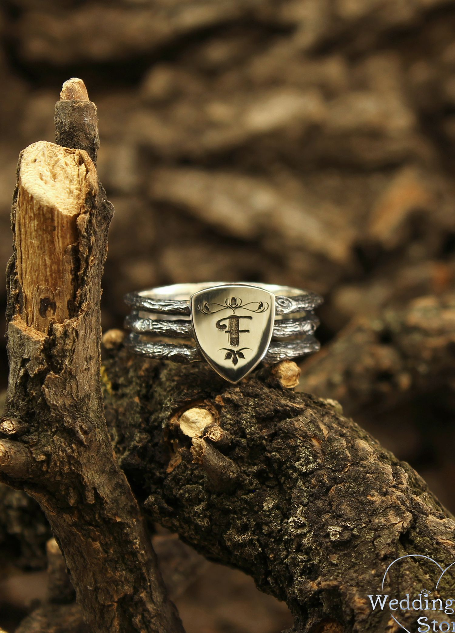 Personalized shield men's ring, Knight sterling silver