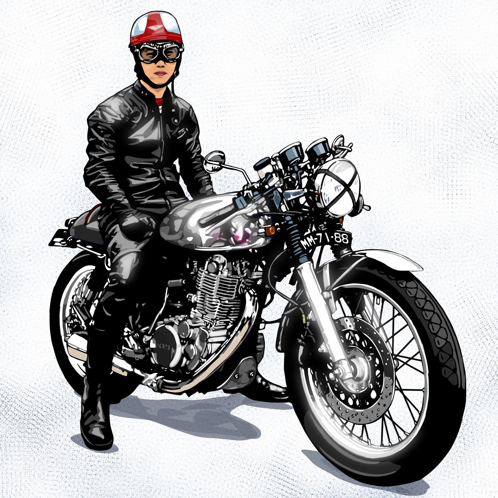 Chilei9182 バイクアート 乗り物 イラスト カフェレーサー