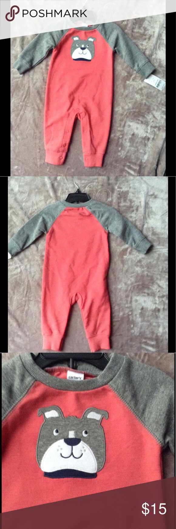 NWT Infant Onesie Outfit NWT Infant Onesie Outfit; Dog on Front; Two-Tone Colors; Snap Crotch; 60% Cotton 40% Polyester Carter's One Pieces