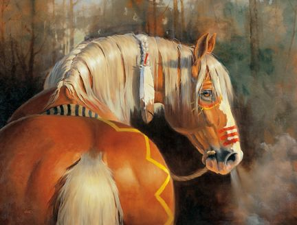 Idling - horse painting by Lynn Wade. (Painted Palomino Indian Pony).