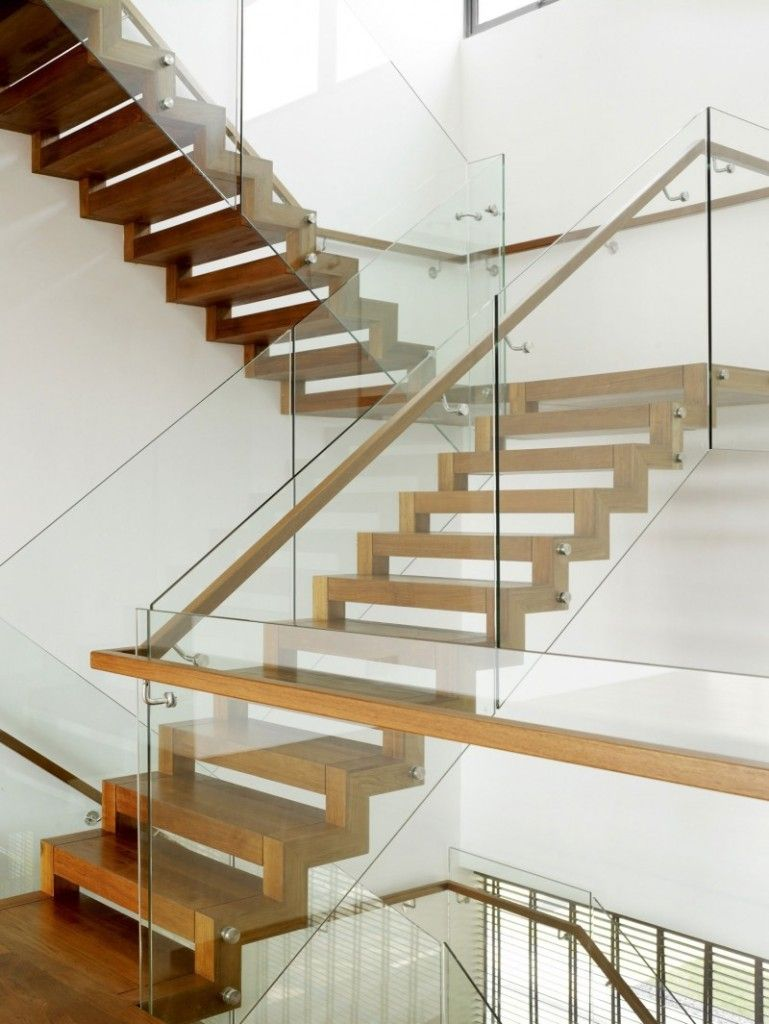 21 beautiful modern glass staircase design modern for Modern wood stairs
