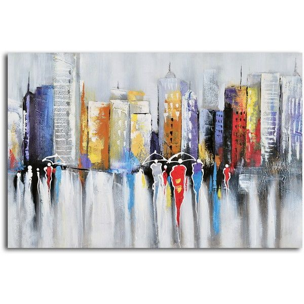Hand-painted 'High Rise Low Reign' Canvas Wall Art ($122) ❤ liked on Polyvore featuring home, home decor, wall art, abstract painting, horizontal wall art, abstract canvas wall art, canvas wall art and canvas paintings