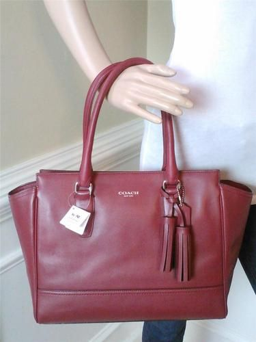 Nwt Coach Legacy Leather Medium Candace Carryall Black Cherry Red Bag 19890