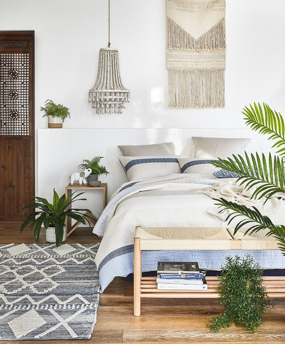 Coastal Bohemian Bedroom With Adairs Fake Plants Bedroom Modern Bedroom Decor Bedroom Diy Bedroom Design