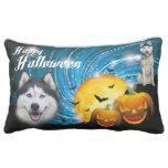 Happy Halloween Husky Lumbar Pillow #halloween #happyhalloween #halloweenparty #halloweenmakeup #halloweencostume