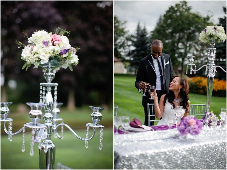 Purple and silver wedding ideas. End Of Summer Romance Wedding Inspiration {Styled Shoot} » Photo by Samantha Clarke Photography