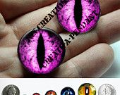 Glass Eyes - 16mm - Pink Dragon Glass Taxidermy Eyes Cabochons for Steampunk Jewelry and Pendant Making