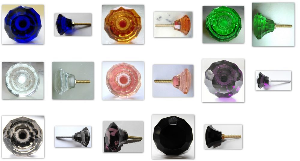 cupboard wardrobe drawer pulls door knobs small cut glass 35 mm many colours