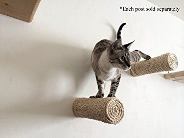 CatastrophiCreations One Floating Sisal Cat Post Step - Handcrafted Cat Shelf