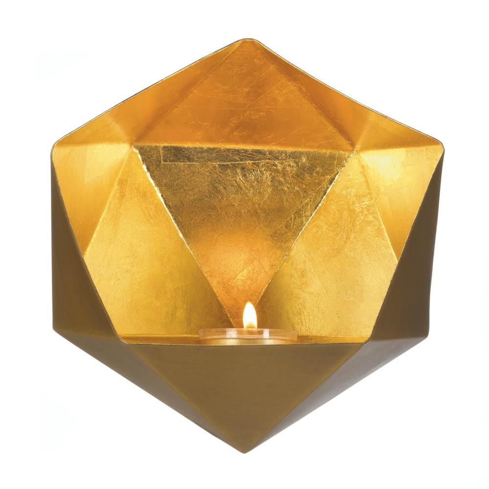 Geometric Candle Wall Sconce - Gold   Candle sconce   Pinterest ...