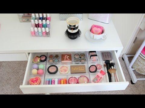 New Vanity Ikea Micke Desk Mini Vanity Tour Makeup Storage Ideas Youtube Makeup Vanity Storage Diy Makeup Vanity Diy Makeup Storage