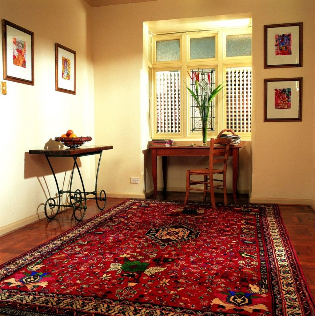 Interior Awesome Red Oriental Rug Decorating Antique Legs