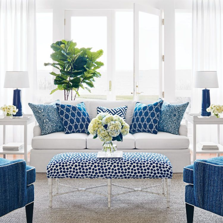 Winter Blues Blue And White Living Room Coastal Decorating