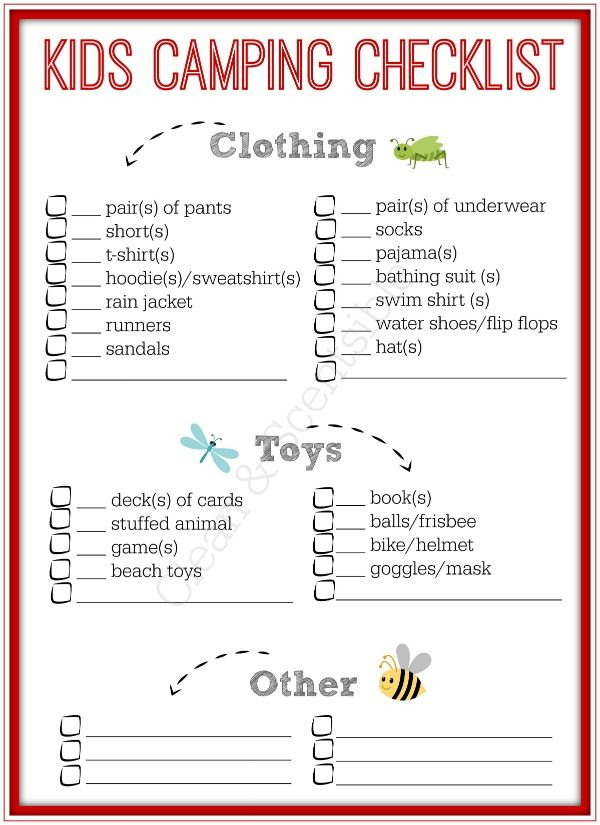 Kids Camping Checklist  Camping Checklist Free Printable And Camping